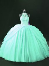 Beading Quinceanera Dress Apple Green Lace Up Sleeveless Floor Length
