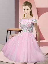 Baby Pink Dama Dress for Quinceanera Wedding Party with Appliques Off The Shoulder Short Sleeves Lace Up