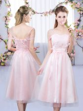 Sweetheart Short Sleeves Quinceanera Court of Honor Dress Tea Length Lace and Belt Baby Pink Tulle