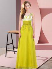 Olive Green Sleeveless Floor Length Appliques Backless Damas Dress