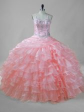 Pink Ball Gowns Beading and Ruffled Layers Quinceanera Dress Lace Up Organza Sleeveless Floor Length
