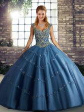 Chic Sleeveless Floor Length Beading and Appliques Lace Up 15th Birthday Dress with Blue