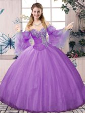 Hot Sale Long Sleeves Lace Up Floor Length Beading Sweet 16 Quinceanera Dress