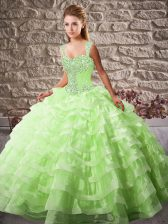 Fashion Organza Sleeveless Quinceanera Dress Court Train and Beading and Ruffled Layers