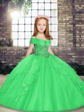 Best Floor Length Green High School Pageant Dress Tulle Sleeveless Beading