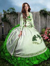 Sweetheart Sleeveless Sweet 16 Dress Floor Length Embroidery and Ruffles Green Organza