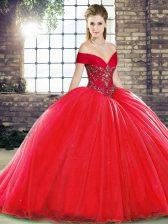 Fantastic Off The Shoulder Sleeveless Organza 15th Birthday Dress Beading Brush Train Lace Up