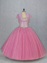 Pink Ball Gowns Sweetheart Sleeveless Tulle Floor Length Lace Up Beading Sweet 16 Dresses