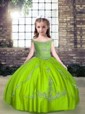 Latest Tulle Off The Shoulder Sleeveless Lace Up Beading Winning Pageant Gowns in