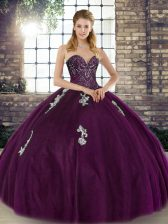 Floor Length Dark Purple Sweet 16 Quinceanera Dress Sweetheart Sleeveless Lace Up