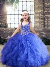 Blue Ball Gowns Straps Sleeveless Tulle Floor Length Lace Up Beading and Ruffles Little Girl Pageant Gowns