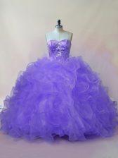 Simple Lavender Sleeveless Beading and Ruffles Floor Length Sweet 16 Dresses