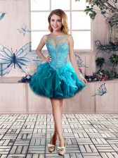 Flare Sleeveless Mini Length Beading and Ruffles Lace Up Homecoming Dress with Blue
