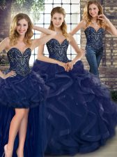 Navy Blue Tulle Lace Up Sweetheart Sleeveless Floor Length Vestidos de Quinceanera Beading and Ruffles