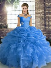 Amazing Floor Length Lace Up Quinceanera Gowns Blue for Military Ball and Sweet 16 and Quinceanera with Beading and Ruffles and Pick Ups