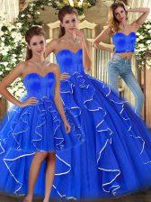 Glittering Blue Sweetheart Lace Up Ruffles Sweet 16 Dresses Sleeveless