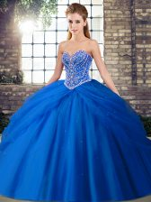 Blue Sweet 16 Dresses Military Ball and Sweet 16 and Quinceanera with Beading and Pick Ups Sweetheart Sleeveless Brush Train Lace Up