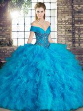 Dazzling Sleeveless Beading and Ruffles Lace Up Sweet 16 Dresses