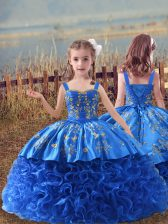 Adorable Blue Fabric With Rolling Flowers Lace Up Kids Pageant Dress Sleeveless Sweep Train Embroidery