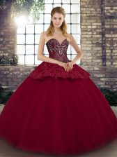 Simple Burgundy Ball Gowns Beading and Appliques Sweet 16 Dress Lace Up Tulle Sleeveless Floor Length