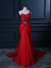 Sexy One Shoulder Sleeveless Prom Gown Watteau Train Beading and Lace and Appliques Red Chiffon