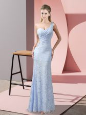 Sleeveless Criss Cross Floor Length Beading and Lace Evening Dress