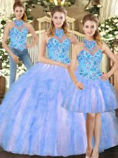 Nice Sleeveless Floor Length Embroidery Lace Up Quinceanera Gowns with Multi-color