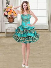 Sleeveless Taffeta Mini Length Lace Up Evening Dress in Teal with Embroidery and Ruffled Layers