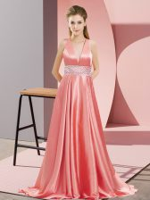 Glittering Backless Prom Party Dress Watermelon Red for Prom and Party with Beading Brush Train