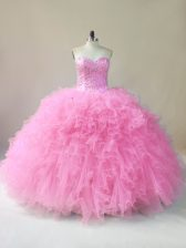 Customized Baby Pink Lace Up Sweet 16 Dress Beading and Ruffles Sleeveless Floor Length