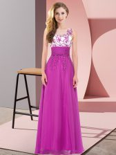 Fuchsia Sleeveless Chiffon Backless Dama Dress for Quinceanera for Wedding Party