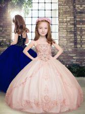 Beautiful Floor Length Pink Little Girl Pageant Gowns Tulle Sleeveless Beading