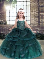 Fashionable Floor Length Lace Up Little Girls Pageant Dress Peacock Green for Party and Military Ball and Wedding Party with Beading and Ruffles