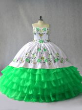 Stunning Green Sleeveless Organza Lace Up Quinceanera Gown for Sweet 16 and Quinceanera