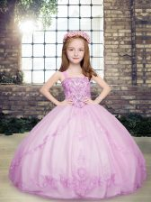 Sleeveless Tulle Floor Length Lace Up Pageant Gowns For Girls in Lilac with Beading