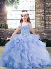 Ball Gowns Pageant Dress Lavender Straps Tulle Sleeveless Floor Length Lace Up