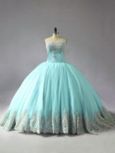 Captivating Blue Lace Up Sweetheart Appliques Quinceanera Gowns Tulle Sleeveless Court Train