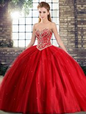 Adorable Lace Up Sweet 16 Dresses Red for Military Ball and Sweet 16 and Quinceanera with Beading Brush Train