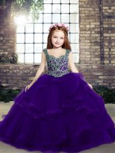 Tulle Straps Sleeveless Lace Up Beading Pageant Gowns For Girls in Purple
