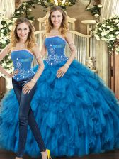 Blue Strapless Lace Up Beading and Ruffles Quinceanera Dresses Sleeveless