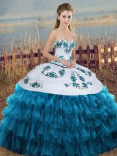 Most Popular Sleeveless Embroidery and Ruffled Layers and Bowknot Lace Up Vestidos de Quinceanera