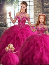 Floor Length Fuchsia Sweet 16 Dresses Tulle Sleeveless Beading and Ruffles