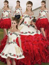 Glorious Organza Sleeveless Floor Length Quinceanera Dress and Embroidery and Ruffles