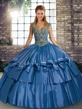 Stunning Blue Straps Lace Up Beading and Ruffled Layers Quince Ball Gowns Sleeveless