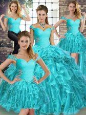 Aqua Blue Lace Up Off The Shoulder Beading and Ruffles Sweet 16 Quinceanera Dress Organza Sleeveless Brush Train
