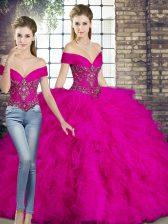 Floor Length Fuchsia Quinceanera Dress Tulle Sleeveless Beading and Ruffles