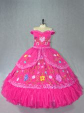 Floor Length Ball Gowns Sleeveless Hot Pink 15 Quinceanera Dress Lace Up