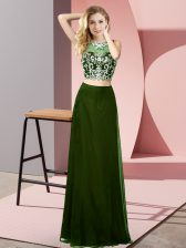 Perfect Floor Length Backless Prom Dress Olive Green for Prom and Party with Beading