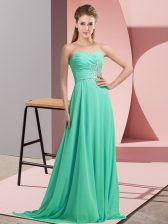Sleeveless Lace Up Beading and Appliques Dress for Prom