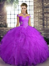 Ball Gowns 15th Birthday Dress Purple Off The Shoulder Tulle Sleeveless Floor Length Lace Up